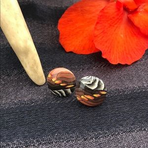 Vintage 80's Button Style Earrings